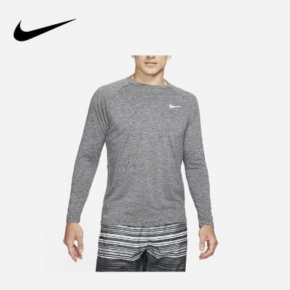 Nike Heathered Long-Sleeve Hydroguard Swim Shirt (Black)